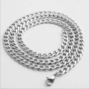 Stainless steel men long chain necklace 7mm
